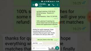 Whatsapp video proof VIP FIXED MATCH 10.02.2018