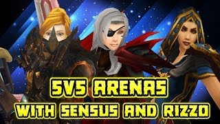 "Evylyn Arenas /w Sensus & Rizzo 5v5 pwnage ""go fecking ham!"" wow mop 5.4 warrior rogue mage pvp"