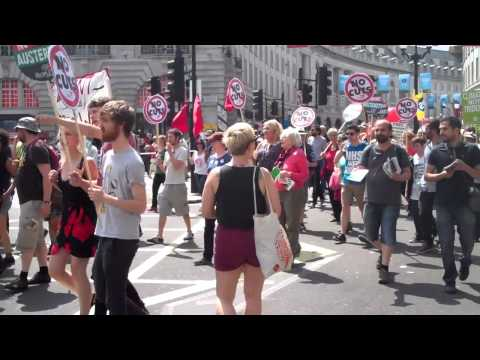 June 21, 2014: People's Assembly No More Austerity march reaches Piccadilly Circus