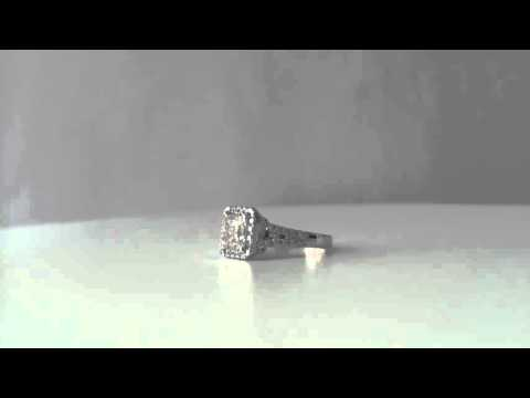 Princess cut Split Shank Halo Engagement Ring White Gold