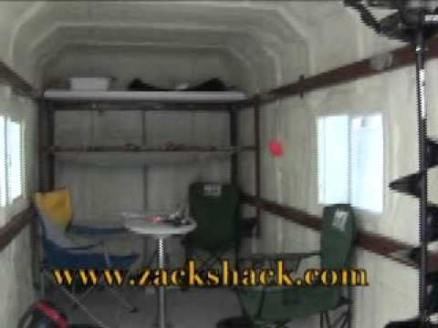 Zack shack ice fishing house youtube for Ice fishing huts for sale
