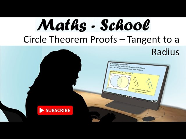 Circle theorem proof - Tangent at the arc and radius : Maths - School GCSE Revision