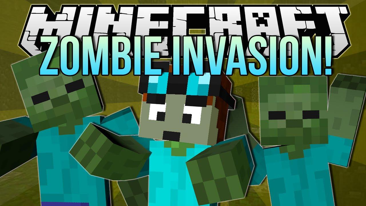 Zombie Invasion Minecraft Blocking Dead Minigame Youtube