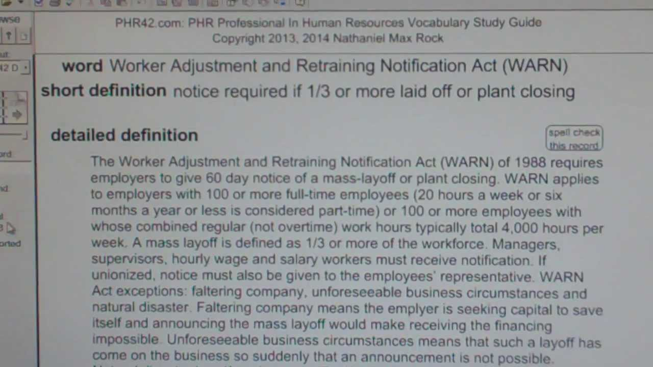 Worker adjustment and retraining notification act warn of 1988 worker adjustment and retraining notification act warn of 1988 phr sphr hr exam vocabubee 1betcityfo Choice Image