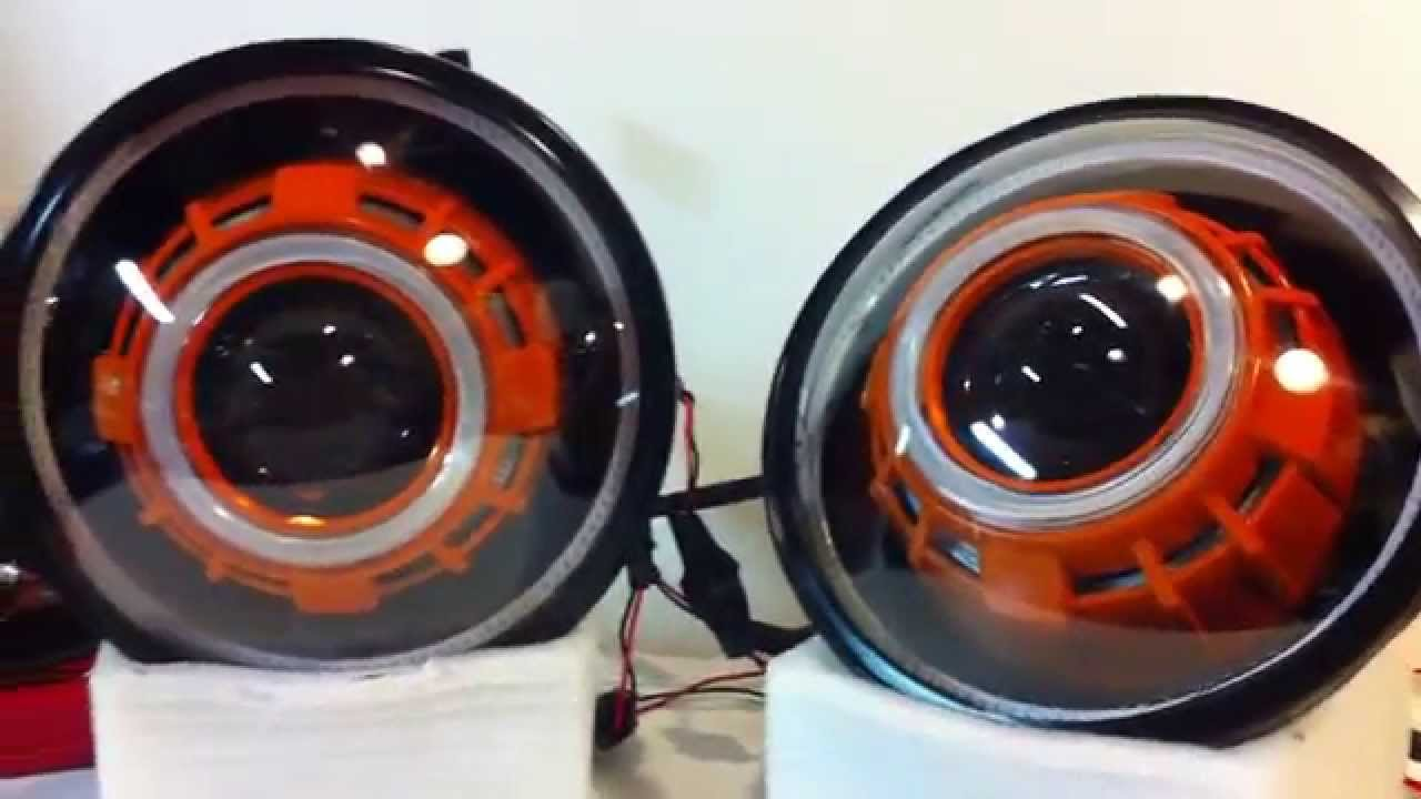 Jeep Halo Headlights >> Jeep Wrangler Projector Headlights sealed 7 inch round high beam and low beam HID - YouTube