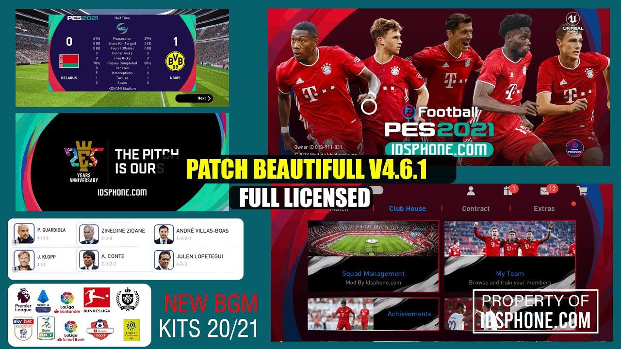 Patch Obb BAYERN MUNCHEN 4.6.1 | Classic Team Kits | Efootball Pes 2020 Mobile | Android & IOS