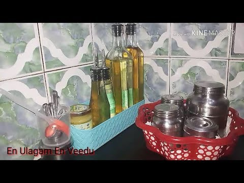 Oil Storage Organisation in my Kitchen/Part of Countertop makeover or Kitchen Tour in tamil