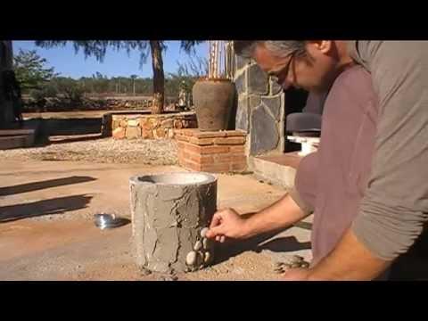 Maceta cemento decorada con piedras. - YouTube