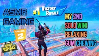 ASMR Gaming | Fortnite Chapter 2 My 2nd Solo Win! Gum Chewing 🎮🎧Controller Sounds + Whispering😴💤