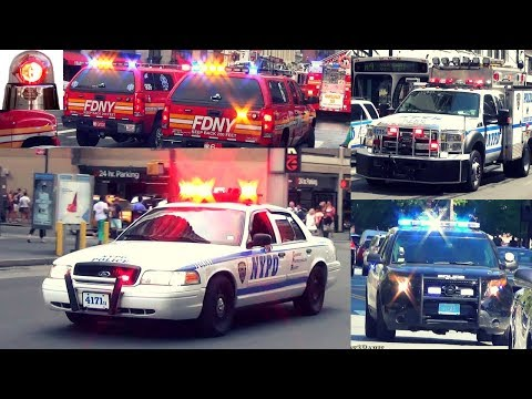 Police Cars, Fire Trucks, Engines, Ambulances Responding - Compilation 3 - Sirens Air Horns Lights