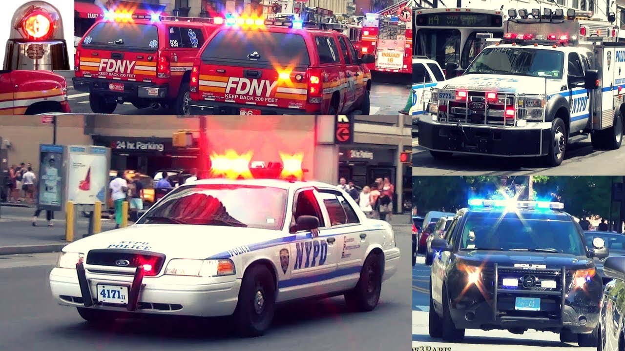 Police Cars, Fire Trucks, Ambulances Responding Best of Compilation 3 - Sirens Air Horns Lights