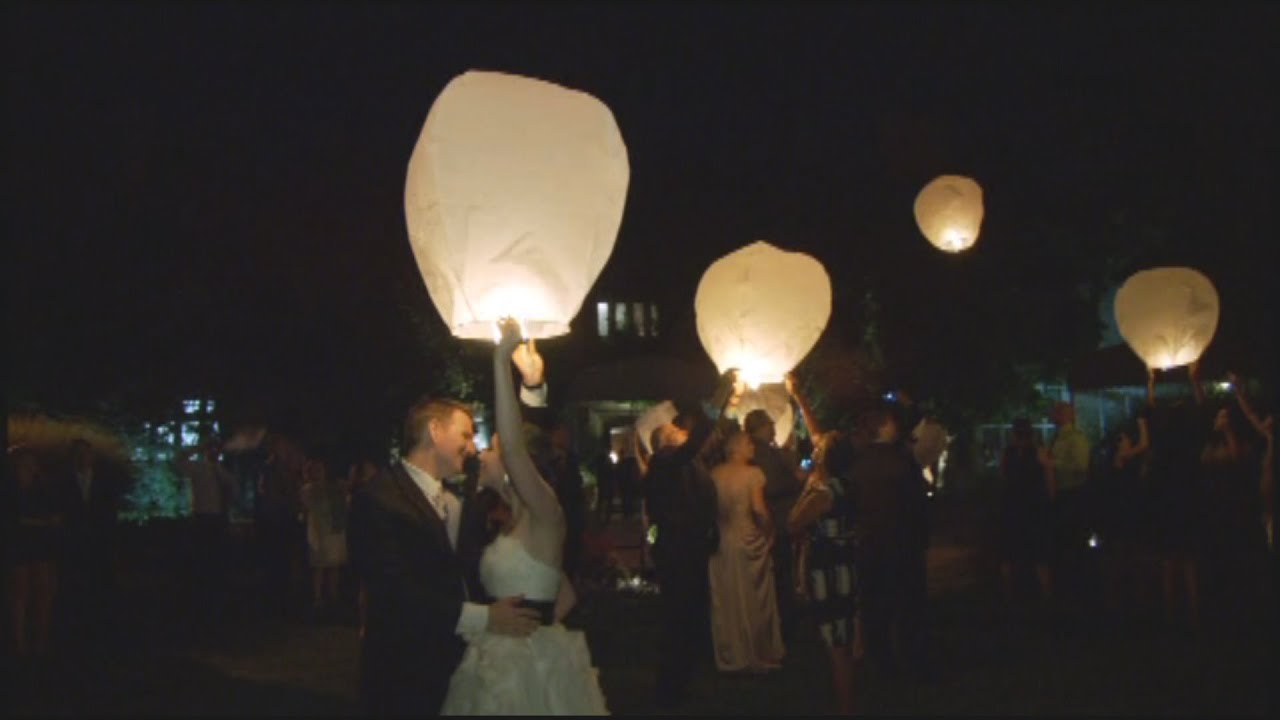 Flying Sky Wish Lanterns At A Toronto Irish Wedding Reception ...