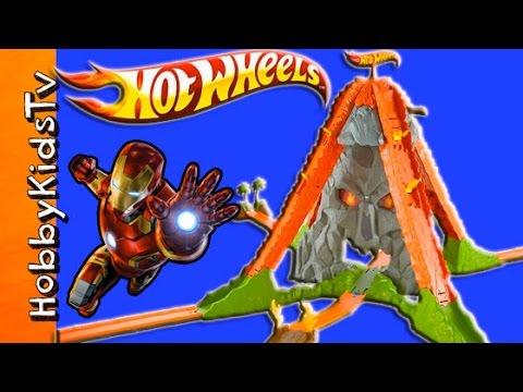 Hot Wheels Volcano Track Launcher  Review + New Hot Wheel Car Surprise HobbyKidsTV