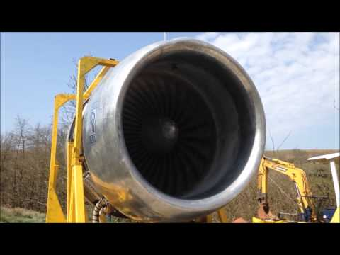 Rolls Royce RB211 Back Yard 747 Jet Engine Run Close Up and Personal