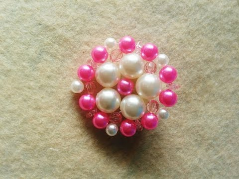 Tutorial: Broche o colgante de cuentas redondo // Beaded brooch or pendant