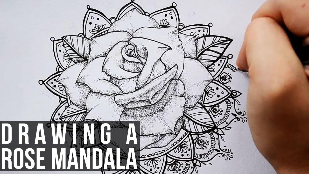 drawing a rose mandala