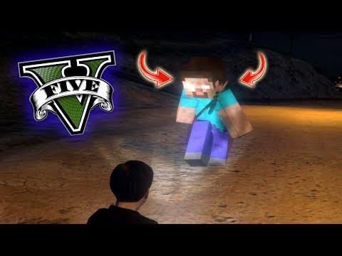 ENCONTRÉ A HEROBRINE !! (minecraft) - GTA V [Secreto/Misterio/Mod]