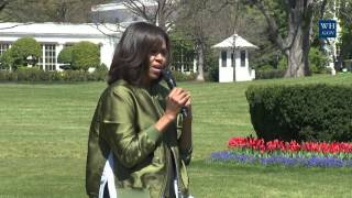 first lady michelle obama plants the white house kitchen garden
