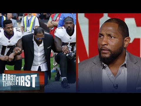 Ray Lewis passionately explains why he dropped to both knees during anthem | FIRST THINGS FIRST