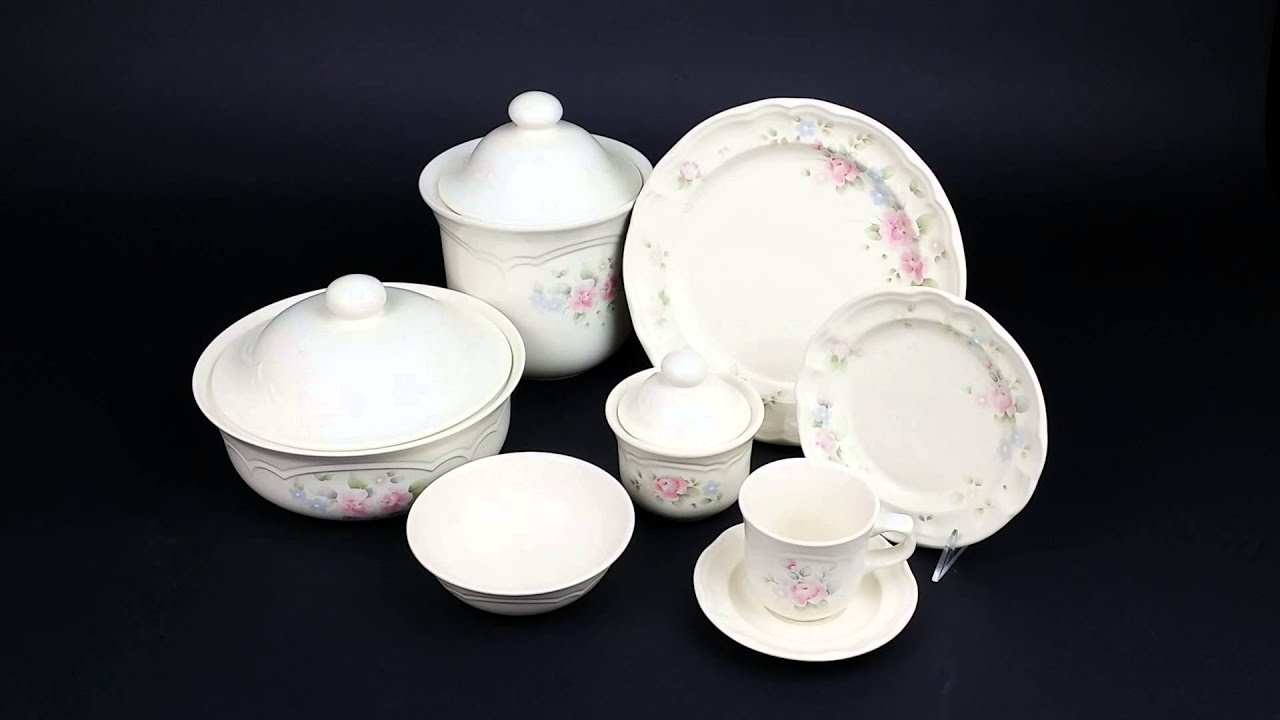 Pfaltzgraff China - Tea Rose Pattern - Pink Roses \u0026 Blue Flowers - Raised Arches - YouTube : pfaltzgraff dinnerware patterns - pezcame.com