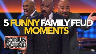 5 FUNNY CELEBRITY FAMILY FEUD MOMENTS That Made Steve Harvey Laugh Out Loud | Bonus Round
