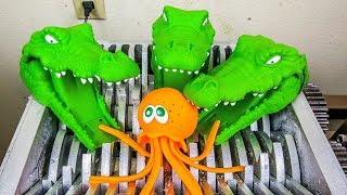 Crocodiles Eat Octopus! Animal Toys Destroyed! What's Inside Squishy Water bath Toys and Slime Toys?