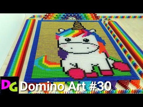 RAINBOW UNICORN In 6,500 Dominoes / Domino Art #30
