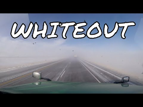 Trucking in a WHITEOUT In Wyoming