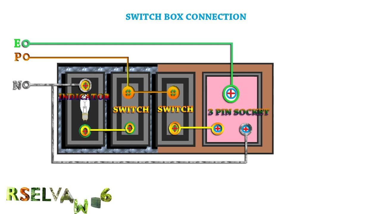 how to connection switch box use 3 pin socket.switch box connection ...