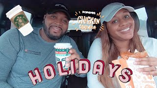 TRYING STARBUCKS HOLIDAY DRINKS WE FINALLY TRIED THE POPEYES CHICKEN SANDWICH