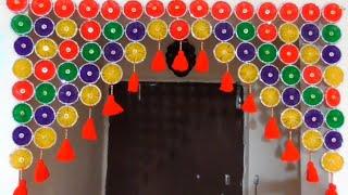 DIY - DOOR HANGING TORAN FROM BANGLES AND WOOLEN || HOW TO MAKE BANGLES TORAN || DIY - WOOLEN TORAN