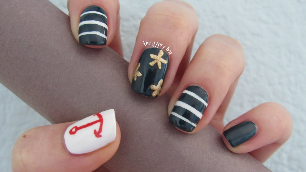 Nautical Anchor Starfish Nail Art Design Thegypsybox Youtube