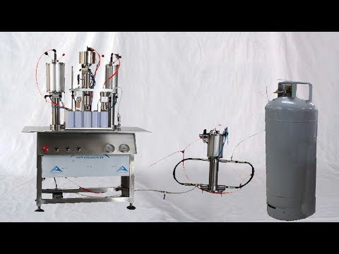 Gas liquid filled into aerosol cans instruction how to run filling machines de remplissage d'aérosol