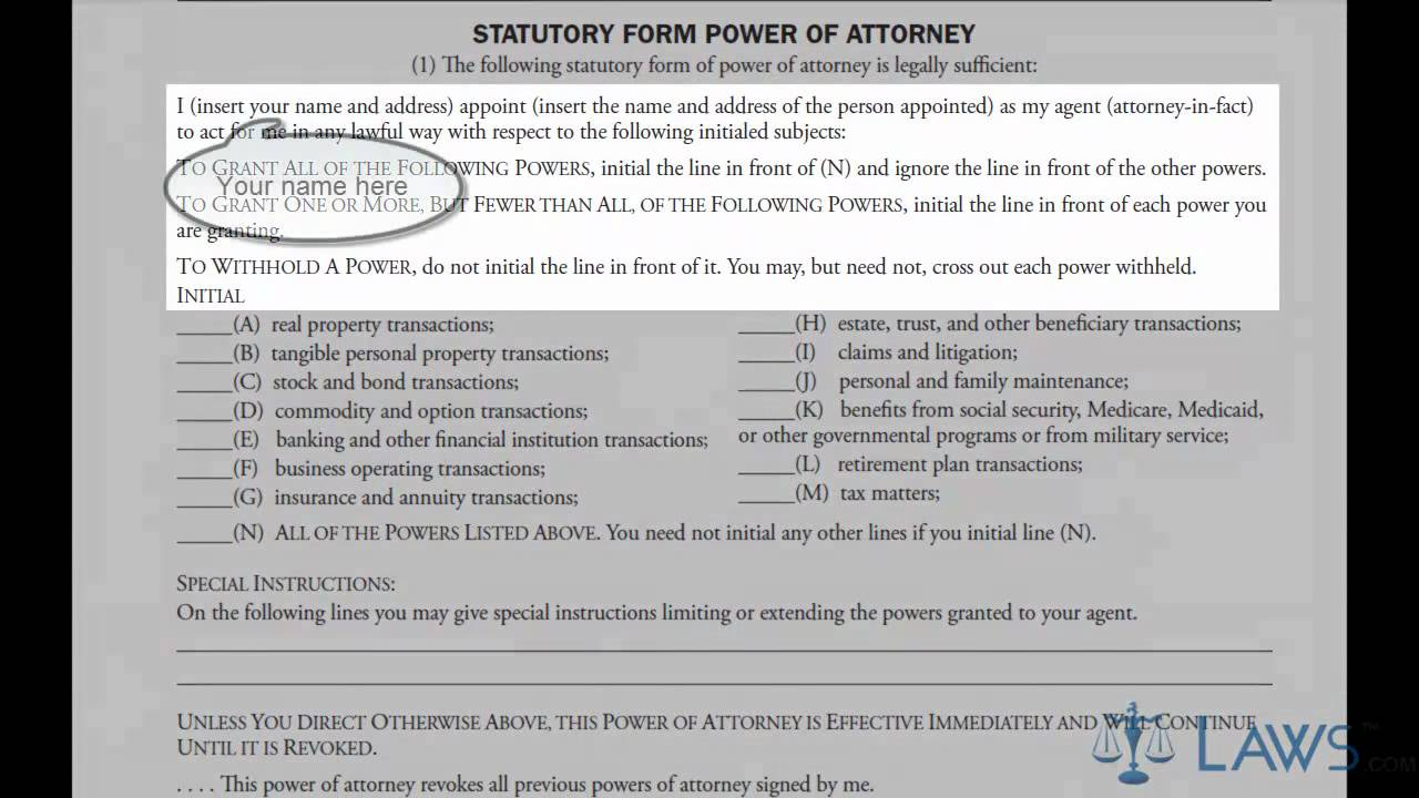 Learn How To Fill The Power Of Attorney Form General Youtube