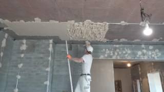 Гипсовая машинная штукатурка потолков по маякам(, 2017-05-21T00:46:08.000Z)