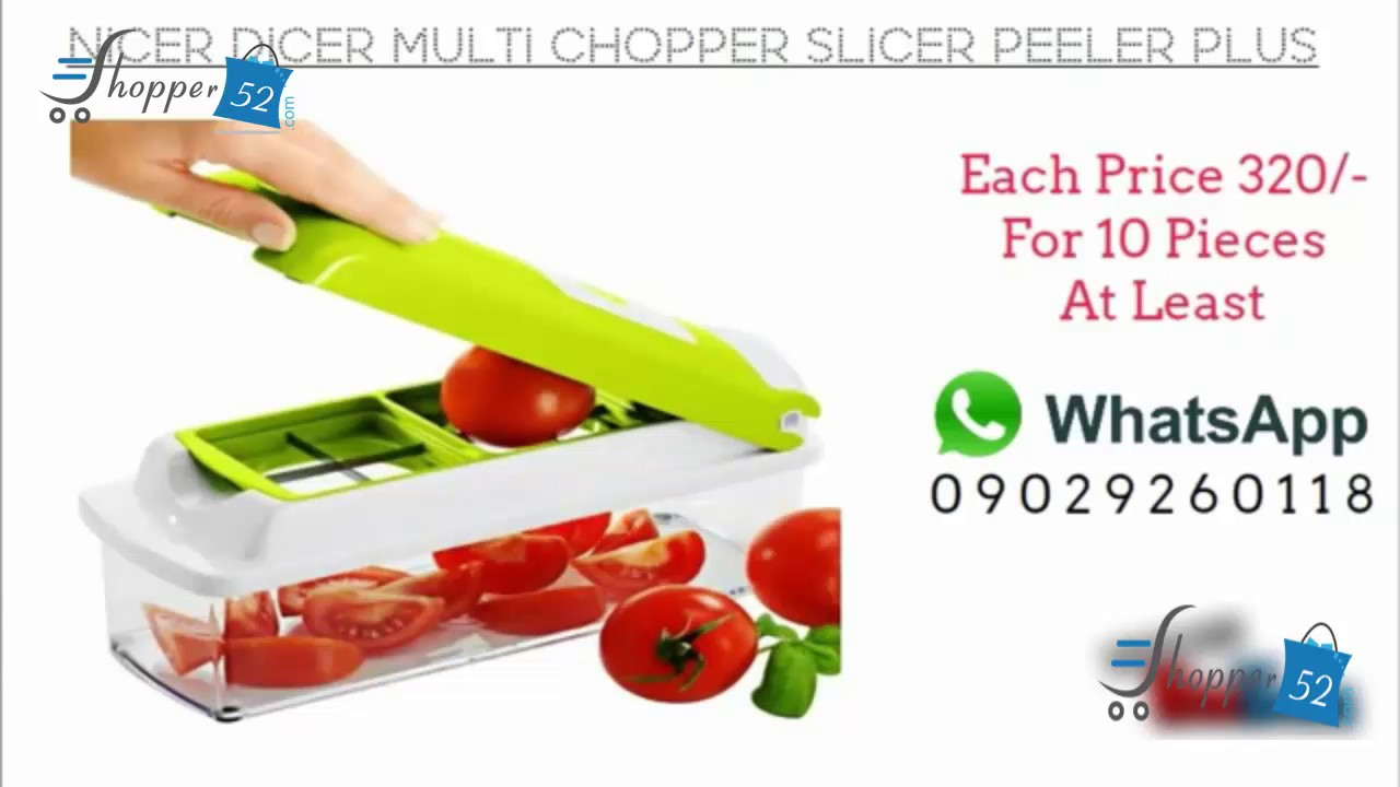 shopper52 nicer dicer multi chopper vegetable cutter fruit slicer peeler dicer plus - Vegetable Dicer