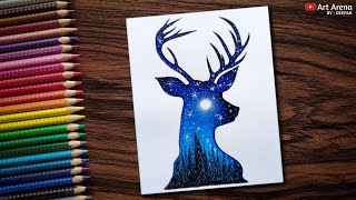 Beautiful Night Sky Double Exposure Drawing with Water Colour Pencils - Speed Drawing