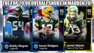 THE TOP 20 99 OVERALL SNUBS IN MADDEN 20! HOW DID THEY NOT GET UPGRADES?! | MADDEN 20 ULTIMATE TEAM
