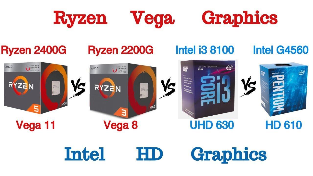 Ryzen 5 2400g Vega 11 Vs Ryzen 3 2200g Vega 8 Vs Intel I3 8100 Uhd