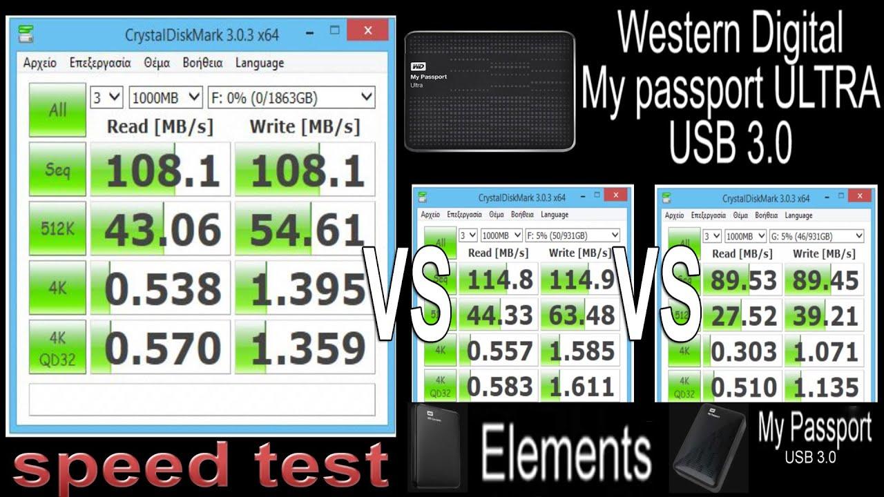 WD My Passport Ultra USB3 0 Speed Test (Read/Write MB/s) vs Elements