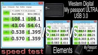 WD My Passport Ultra USB3.0 Speed Test (Read/Write MB/s) vs Elements