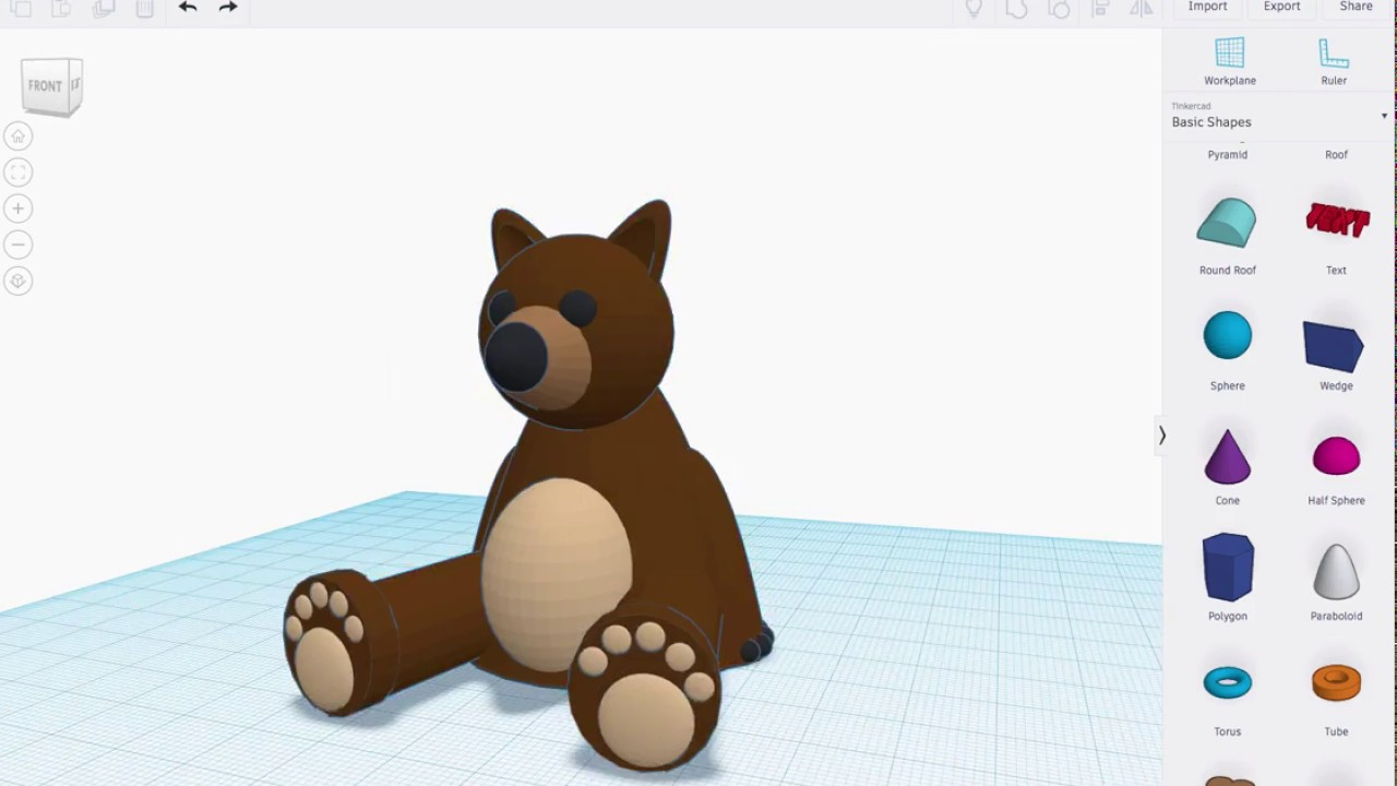 b5a303761be Benny Bear - Made with Tinkercad - YouTube