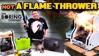 The Boring Company Flame Thrower setting EVERYTHING on FIRE!