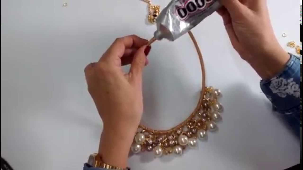 43b887159a10 DIY  Collar Con Cadena Y Perla - Colore Accesorios - YouTube