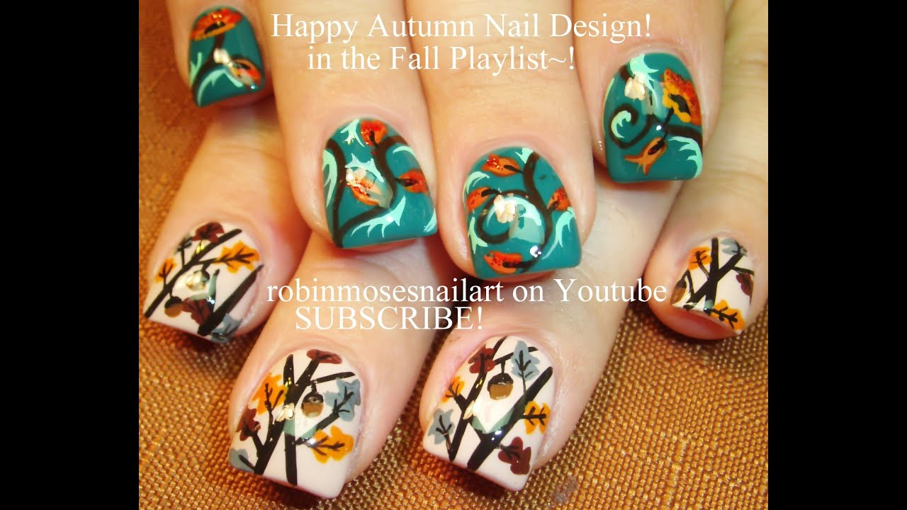 Thanksgivng Nail Art | Fall Acorn Nails Designs for Short Autumn ...