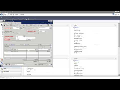 Microsoft Dynamics GP - How to Create a Journal Entry