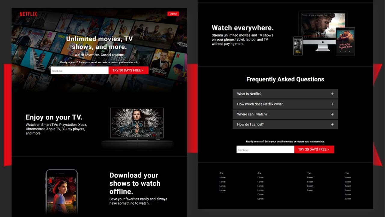 Responsive Netflix Landing Page With Html and Css