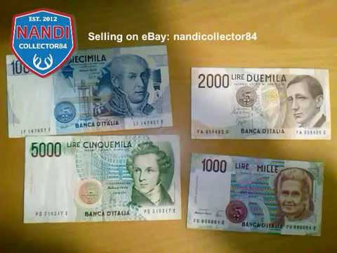 1000, 2000, 5000, 10000 (1984, 1985, 1990) Italian lire banknotes