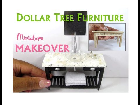 Dollar Tree to Luxury Miniature Furniture Makeover DIY Contemporary Bathroom  Vessel Sink