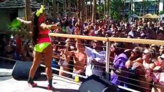 Mya Showing Off Her Sexy Curves Performing In Colorful Bikini in Vegas